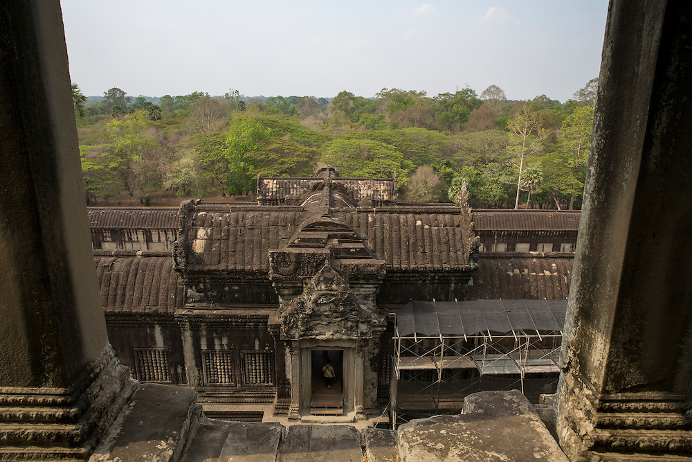 A view from one of the central highest temple towers in Angkor Wat looking down over the ancient temple complex in Siem Reap, Cambodia.  Angkor Wat is one of UNESCO's world heritage sites. It was built in the 12th century.  (photo by Andrew Aitchison / In pictures via Getty Images)