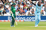 Fakhar Zaman survives and LBW appeal from Jofra Archer during the ICC Cricket World Cup 2019 match between England and Pakistan at Trent Bridge, West Bridgford, United Kingdon on 3 June 2019.