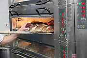 Freshly baked bread in an electric oven
