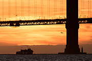San Francisco Bay and Golden Gate bridge at sunset with ferry