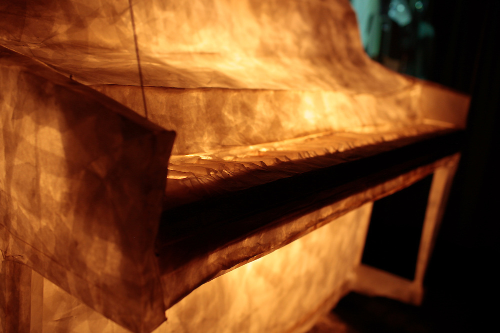 """Installation of """"The World's Only Piano"""" by Meg Stein, August, 2011."""