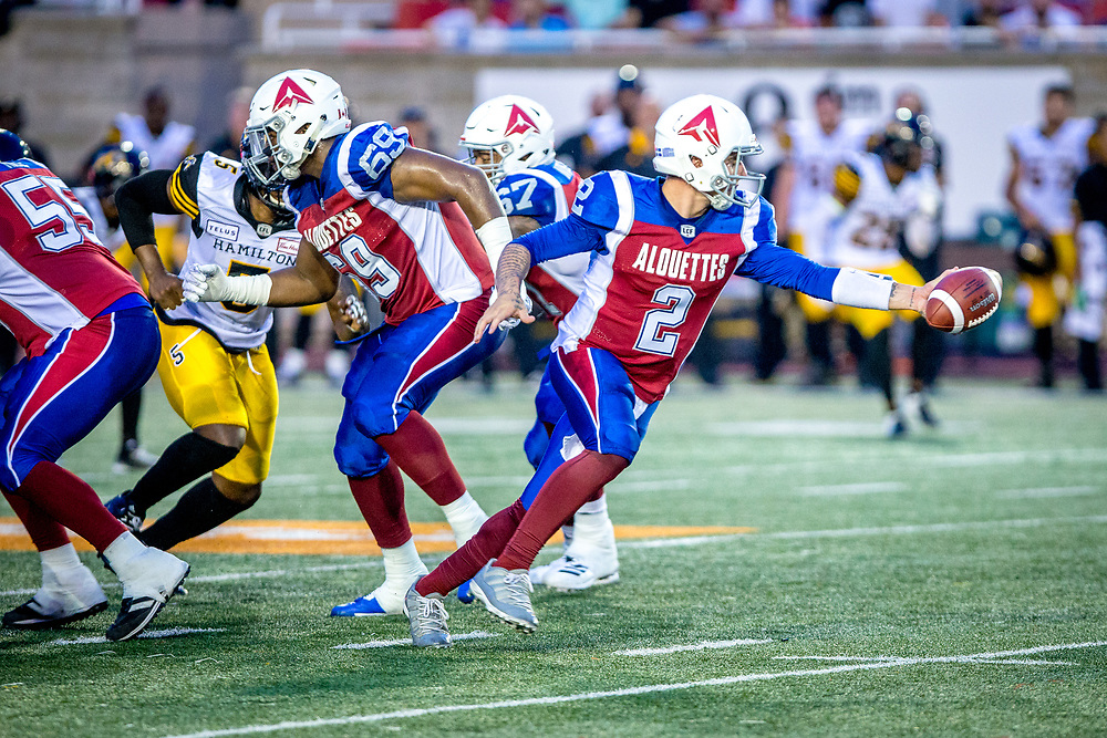 Match des Alouettes contre les Tiger Cats d'Hamilton  le 3 aout au Stade Percival Molson à Montreal. <br /> Photo: Dominic Gravel / Alouettes de Montreal