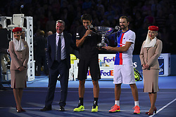 November 13, 2017 - London, England, United Kingdom - Lukasz Kubot (2R) of Poland and Marcelo Melo (3L) of Brazil celebrates as they are given the Emirates ATP year end World Number One trophy after a presentation to them on the second day of the Nitto ATP World Tour Finals at O2 Arena, London on November 13, 2017. (Credit Image: © Alberto Pezzali/NurPhoto via ZUMA Press)