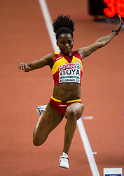 Juliet Itoya of Spain competes in the Long Jump Women Qualification on day two of the 2017 European Athletics Indoor Championships at the Kombank Arena on March 4, 2017 in Belgrade, Serbia. Photo by Vid Ponikvar / Sportida