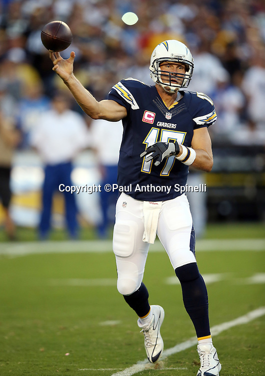San Diego Chargers quarterback Philip Rivers (17) throws a pass during the 2015 NFL week 5 regular season football game against the Pittsburgh Steelers on Monday, Oct. 12, 2015 in San Diego. The Steelers won the game 24-20. (©Paul Anthony Spinelli)