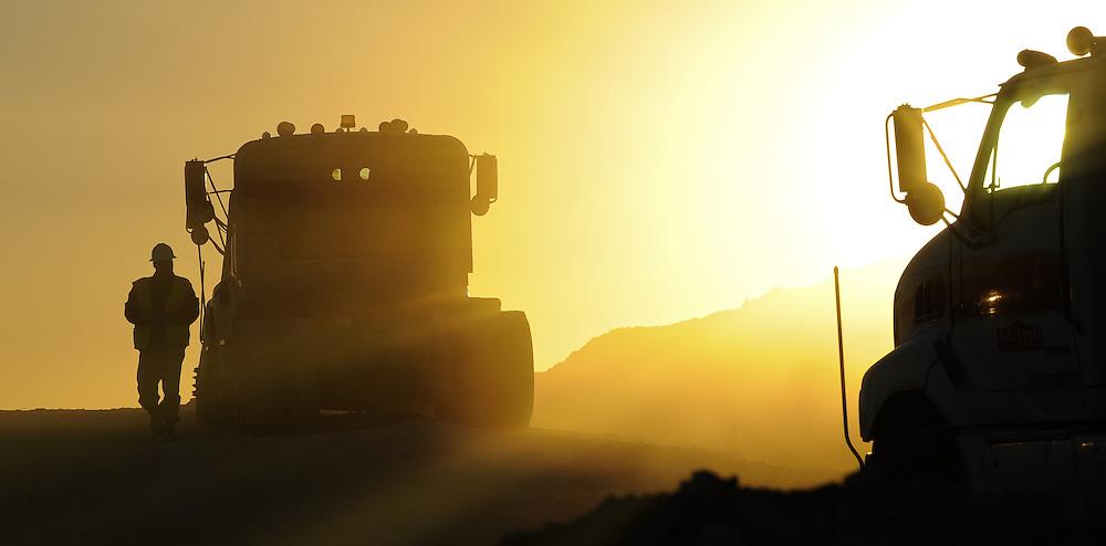 Golden sunlight at a construction site along the Texas Mexico border.