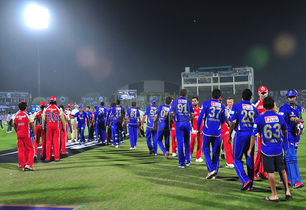 Rajasthan Royals and  Royal Challengers Bangalore players meet each other after match 30 of the the Indian Premier League ( IPL) 2012  between The Rajasthan Royals and the Royal Challengers Bangalore held at the Sawai Mansingh Stadium in Jaipur on the 23rd April 2012..Photo by Arjun Panwar/IPL/SPORTZPICS