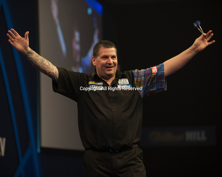 01.01.2014.  London, England.  William Hill PDC World Darts Championship.  Quarter Final Round.  Gary Anderson (4) [SCO] celebrates his 5-1 win over Peter Wright (5) [SCO].