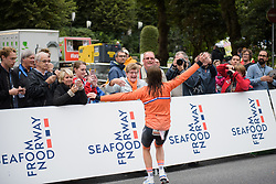 Annemiek van Vleuten runs into the arms of her Mum at UCI Road World Championships Elite Women's Individual Time Trial 2017 a 21.1 km time trial in Bergen, Norway on September 19, 2017. (Photo by Sean Robinson/Velofocus)