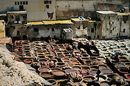 Morocco. Traditional tanneries in Fez.