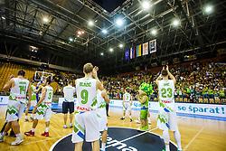 Players of Slovenia during qualifying match between Slovenia and Ukraine for European basketball championship 2017,  Arena Zlatorog, Celje on 7th of September 2016, Slovenia. Photo by Grega Valancic / Sportida