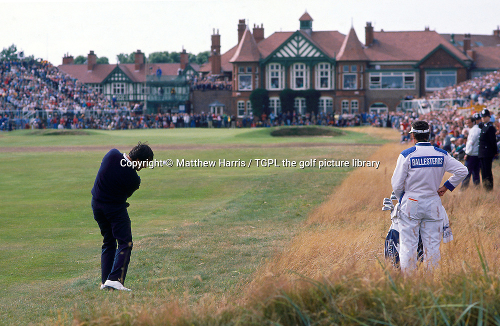 Seve BALLESTEROS (SPN) hits his second shot to the 18th par 4 during fourth round The Open Championship<br /> 1988,Royal Lytham St.Annes,Lytham St.Annes, Lancs, England.