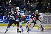 KELOWNA, CANADA - JANUARY 18:  Rodney Southam #17 of the Kelowna Rockets at the Kelowna Rockets game on January 18, 2017 at Prospera Place in Kelowna, British Columbia, Canada.  (Photo By Cindy Rogers/Nyasa Photography,  *** Local Caption *** Brody Willms #35 of the Moose Jaw Warriors