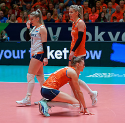 11–01-2020 NED: Semi Final Olympic qualification tournament women Germany - Netherlands, Apeldoorn<br /> First semi final match Germany - Netherlands 3-0 / Nika Daalderop #19 of Netherlands, Laura Dijkema #14 of Netherlands, Kirsten Knip #1 of Netherlands
