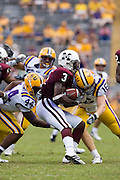 Baton Rouge, LA - SEPTEMBER 30:  Derek Pegues #3 of the Mississippi State Bulldogs gets tackled during a game against the LSU Tigers at Tiger Stadium on September 30, 2006 in Baton Rouge, Louisiana.  The Tigers defeated the Bulldogs 48 - 17.  (Photo by Wesley Hitt/Getty Images) *** Local Caption *** Derek Pegues