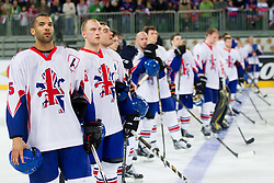 David Clarke of Great Britain and other players of Great Britain listening to the national anthem after winning the ice-hockey match between Great Britain and Slovenia at IIHF World Championship DIV. I Group A Slovenia 2012, on April 15, 2012 in Arena Stozice, Ljubljana, Slovenia. Slovenia defeated Great Britain 3-2. (Photo by Vid Ponikvar / Sportida.com)