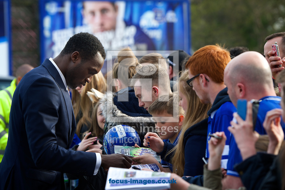 General view of the exterior of the stadium showing Romelu Lukaku of Everton signing autographs ahead of the Barclays Premier League match at Goodison Park, Liverpool<br /> Picture by Ian Wadkins/Focus Images Ltd +44 7877 568959<br /> 16/04/2014