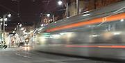 Israel, Jerusalem The newly constructed Light Train rapid urban transport system in Jaffa Street at night