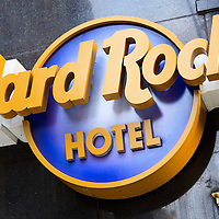Picture of Hard Rock Hotel sign in Chicago. Image is available as a stock photo, poster or print.