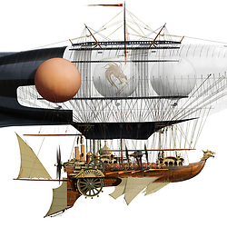 Concept cutaway illustration of a steam driven dragon airship