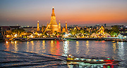 Sunset view of over Wat Arun, Bangkok, Thailand