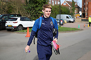 AFC Wimbledon Jack Rudoni (12) arriving for the game carrying pink boots during the EFL Sky Bet League 1 match between AFC Wimbledon and Blackpool at the Cherry Red Records Stadium, Kingston, England on 22 February 2020.