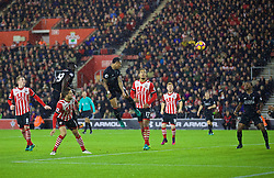 SOUTHAMPTON, ENGLAND - Saturday, November 19, 2016: Liverpool's Nathaniel Clyne sees his header miss against Southampton during the FA Premier League match at St. Mary's Stadium. (Pic by David Rawcliffe/Propaganda)