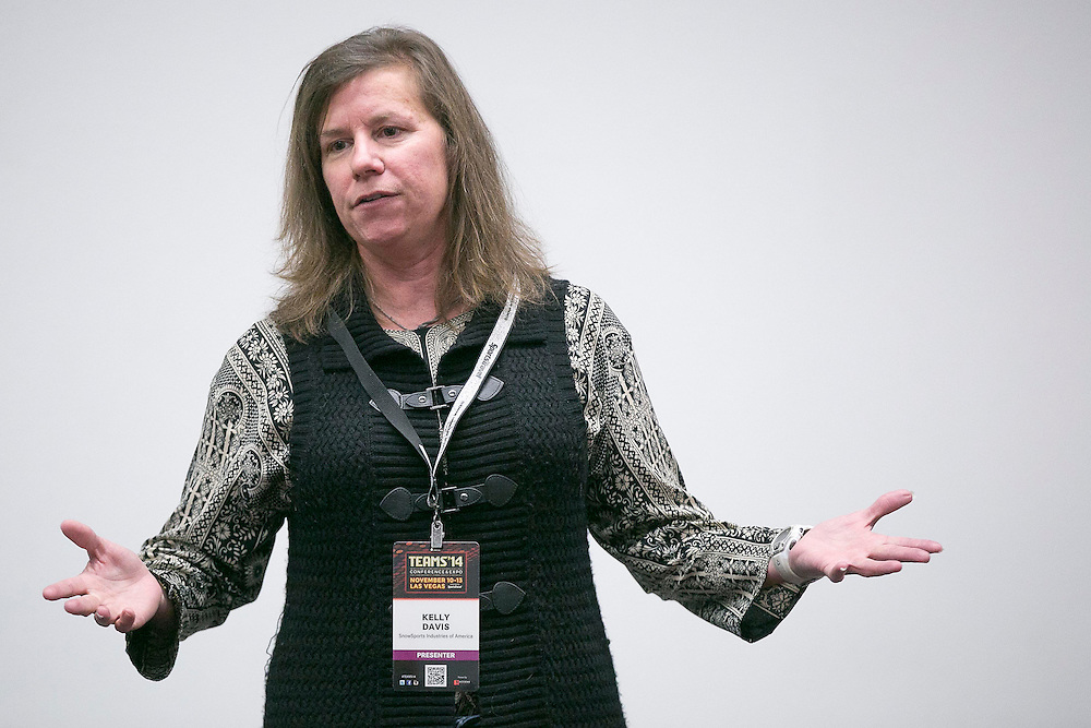 November 11, 2014, Las Vegas, Nevada:<br /> Kelly Davis of the SnowSports Industries America (SIA) speaks during a pre-conference session at the Las Vegas Convention Center in Las Vegas, Nevada Tuesday, November 11, 2014.<br /> (Photo by Billie Weiss/TEAMS)