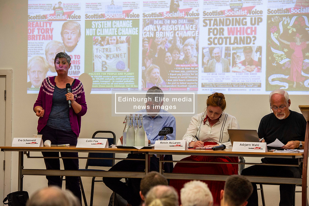Pictured: <br />Delegates welcomed panalists Eva, Schornveld, Extinction Rebellion; Colin Fox and Róisín McLaran, Scottish Socialist Party and Asbjørn Wahl a climate activist from Norway to assess how tackling climate change can be done in ways which benefit working-class people and their communities.<br /><br />Eva Schonveld Extintion Rebellion<br /><br />Colin Fox is the national co-spokesperson of the Scottish Socialist Party and a former Member of the Scottish Parliament for the Lothians.<br /><br />Róisín McLaren is the national co-spokesperson of the Scottish Socialist Party. At 24, she is the youngest leader of any UK political party in history.<br /><br />Asbjørn Wahl is a Norwegian researcher and author. He is currently the director of the Campaign for the Welfare State, an adviser for the Norwegian Union of Municipal and General Employees, and the Vice President of the Road Transport Workers' Section of the International Transport Workers' Federation.<br /><br /><br />Ger Harley   EEm 29 June 2019