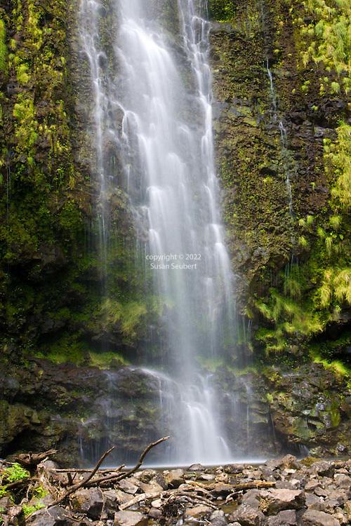 The hike through the Oheo Gulch (Seven Sacred Pools) along the Pipiwai Streams culminates at the 400 foot Waimoku Falls in Hana, Maui in Haleakala National Park
