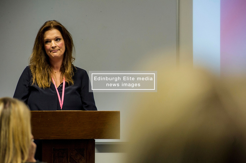 Pictured:  Fiona Drouet<br /> <br /> Education Secretary John Swinney  joined college and university staff to launch a resource to handle gender-based violence. Fiona Drouet's daughter Emily committed suicide following being abused by a fellow student.  She started the Emily test and gathered political support for the establishment of a resource so that all students and staff who how to repond if they or others are abused due to gender.  More than 100,000 cards have been printed featuring the national support helplines for gender-based violence and sexual harassment. They have been designed to be carried constantly by staff, to enable them to quickly refer any victims to help.