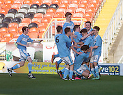 Chris Mitchell is congratulated after scoring the wining goal for Monifieth from a last minute penalty - U16 Dundee United Cup Final (sponsored by Arab Trust) Monifieth High School (light blue and white) v Grove Academy (blue)  - Schools Cup Final at Tanandice<br /> <br />  - &copy; David Young - www.davidyoungphoto.co.uk - email: davidyoungphoto@gmail.com
