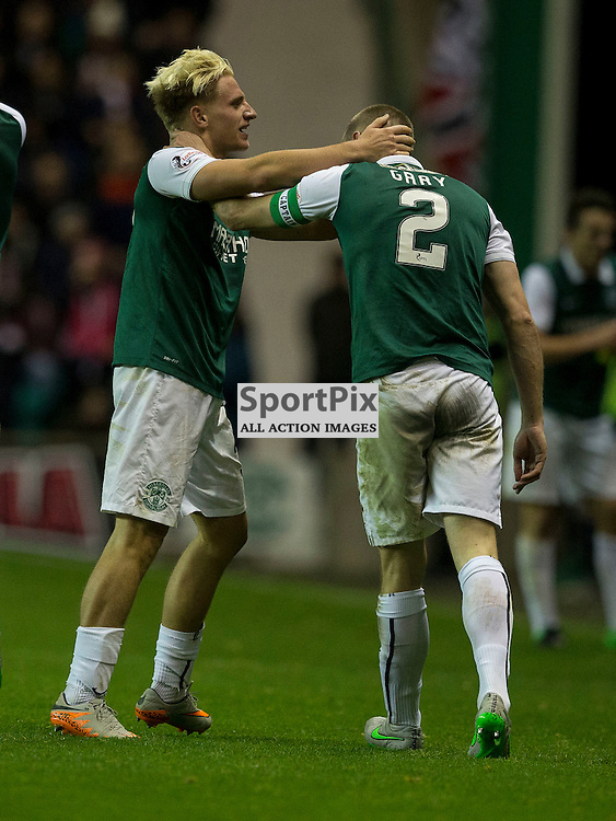 Hibernian FC v Aberdeen FC<br /> <br /> Jason Cummings (Hibernian) celebrates opening goal during the Scottish League Cup clash between Hibernian and Aberdeen FC at Easter Road Stadium on 23 September 2015.<br /> <br /> <br /> Picture Alan Rennie.