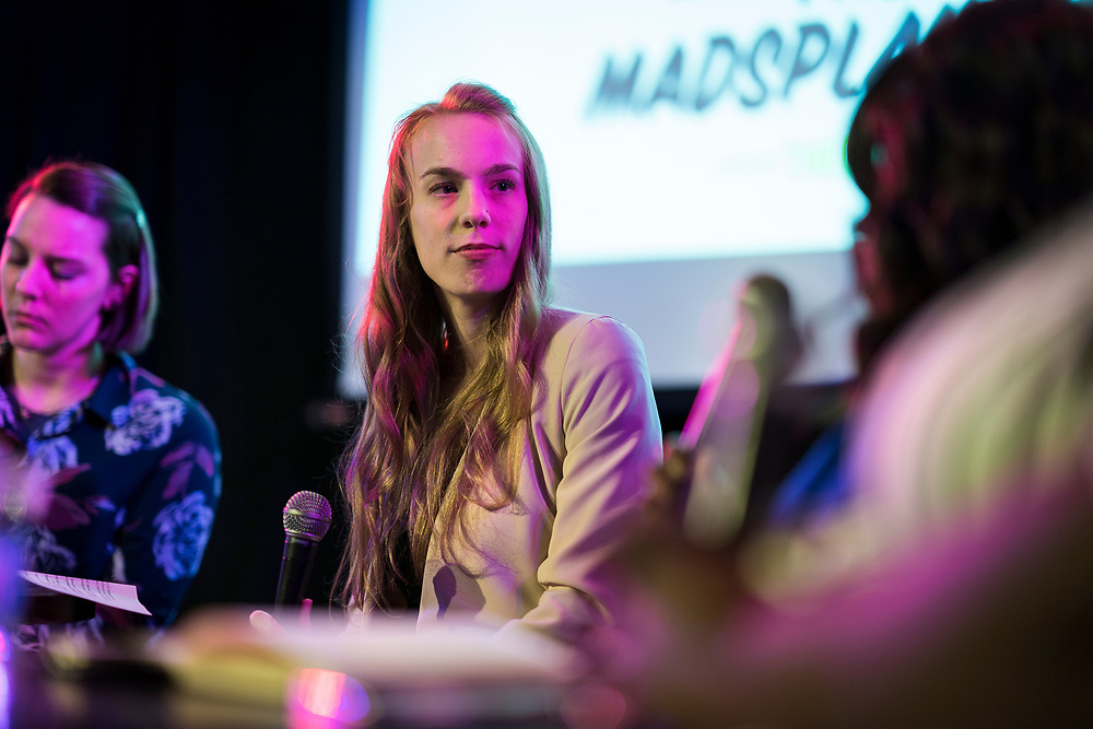 "Lisa Speckhard-Pasque looks on during the live taping of the ""Madsplainers"" Podcast at High Noon Saloon in Madison, WI on Tuesday, April 9, 2019."