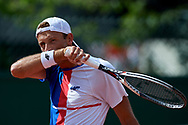 Paris, France - 2017 May 31: Lukasz Kubot from Poland looks forward while his men's double match first round during tennis Grand Slam tournament The French Open 2017 (also called Roland Garros) at Stade Roland Garros on May 31, 2017 in Paris, France.<br /> <br /> Mandatory credit:<br /> Photo by © Adam Nurkiewicz<br /> <br /> Adam Nurkiewicz declares that he has no rights to the image of people at the photographs of his authorship.<br /> <br /> Picture also available in RAW (NEF) or TIFF format on special request.<br /> <br /> Any editorial, commercial or promotional use requires written permission from the author of image.