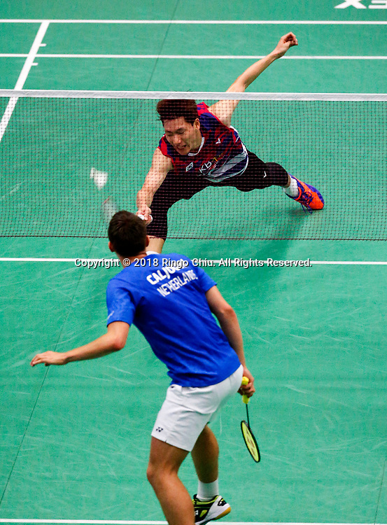 Korea's Lee Dong Keun claims title of U.S. Open Badminton Championships men's singles <br /> <br /> Lee Dong Keun (Top) of Korea, competes with Mark Caljouw of Netherland, during the men's singles final match at the U.S. Open Badminton Championships in Los Angeles, the United States on June 17, 2018. Lee won 2-1. (Xinhua/Zhao Hanrong)<br /> (Photo by Ringo Chiu)<br /> <br /> Usage Notes: This content is intended for editorial use only. For other uses, additional clearances may be required.