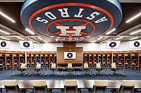 My clients at HKS designed and built a new training facility for the world champion Houston Astros MLB team. I was hired to produce architectural photography of the new sports facility, including this world-class locker room.