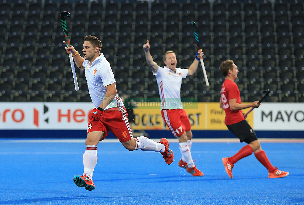 England's Mark Gleghorne celebrates scoring his side's second goal of the game against Canada during the Men's World Hockey League match at Lee Valley Hockey Centre, London.