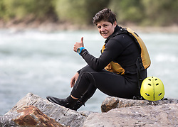 14.07.2015, Ainet, AUT, Eishockey Cracks bei Raftingtour auf der Isel, im Bild Skirennläuferin Edit Miklos (HUN) // Hockey Cracks during a rafting tour on the East Tyrolean glacial river Isel Ainet, Austria on 2015/07/14. EXPA Pictures © 2015, PhotoCredit: EXPA/ Johann Groder