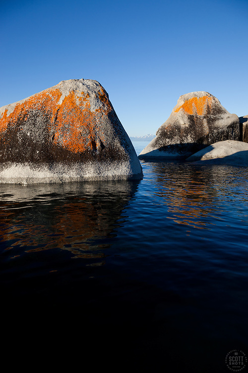 """""""Boulders on Lake Tahoe 19"""" - These orange, black, and grey boulders were photographed in the early morning near Speedboat Beach, Lake Tahoe."""