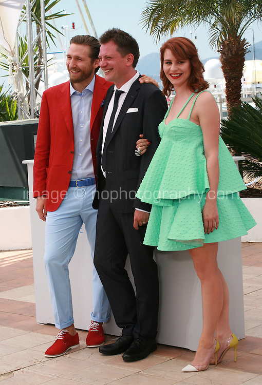 Actor Goran Markovic, Director Dalibor Matanic and actress Tihana Lazovic at the Zvizdan (The High Sun) film photo call at the 68th Cannes Film Festival Sunday 17th May 2015, Cannes, France.