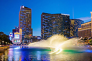 The dancing fountain at the Bellagio, and the Cosmopolitan hotel in Las Vegas, Nevada.