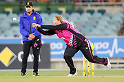 Jess Watkin puts down a sharp chance off her own bowling. Women's T20 international Cricket, Australia v New Zealand White Ferns.  Manuka Oval, Canberra, 5 October 2018. Copyright Image: David Neilson / www.photosport.nz