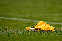 07 December 2008: A flag lays on the field during a penalty against the New York Jets during the San Francisco 49ers 24-14 victory over the Jets at Candlestick Park in San Francisco.