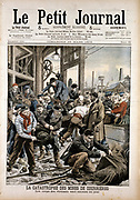 Coal mining accident:  Anxious friends and relatives wait at the pit-head while bodies of the victims who died when roof fell in are brought to the surface. A few men survived 24 days underground by eating carrots and oats they found in the pit pony stables. Courrieres Mines, Pas de Calais, France.  From 'Le Petit Journal' Paris March 1906.