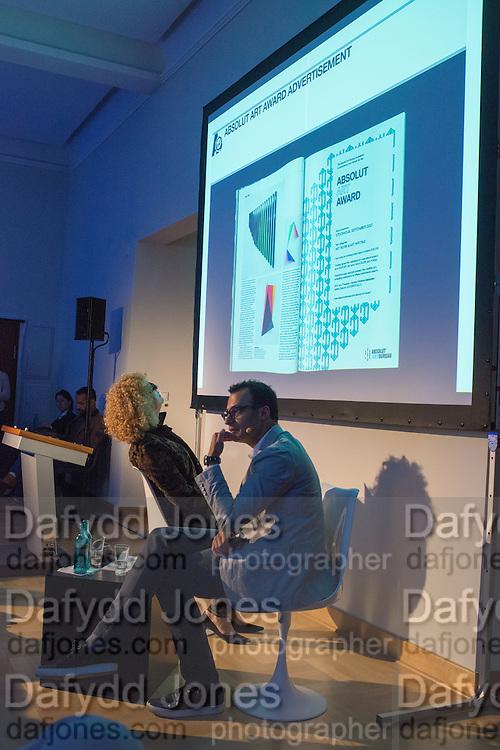 CAROLYN CHRISTOV-BARKARGIEV; VADIM GRIGORIAN, Introduction to art initiative by Absolut Art Bureau new format of Absolut Art Award, By Vadim Grigorian and Carolyn Christov-Bakargiev at Standehaus<br /> Documenta ( 13 ), Kassel, Germany. 14 September 2012.