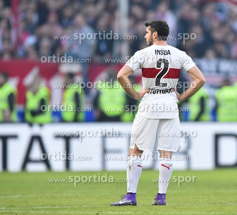 27.02.2016, Mercedes Benz Arena, Stuttgart, GER, 1. FBL, VfB Stuttgart vs Hannover 96, 23. Runde, im Bild Emiliano Insua VfB Stuttgart enttaeuscht // during the German Bundesliga 23th round match between VfB Stuttgart and Hannover 96 at the Mercedes Benz Arena in Stuttgart, Germany on 2016/02/27. EXPA Pictures &copy; 2016, PhotoCredit: EXPA/ Eibner-Pressefoto/ Weber<br /> <br /> *****ATTENTION - OUT of GER*****