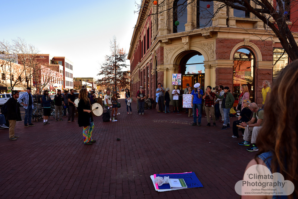 11/15/2016, Boulder, Colorado, Pearl Street Mall County Courthouse and Wells Fargo Branch. These were two peaceful protests with music and speeches to rally people to say no to the Dakota Access pipeline (#NoDAPL). From www.nodaplsolidarity.org website: <br /> <br /> The &ldquo;Dakota Acces&rdquo; Pipeline (DAPL) is a $3.8B, 1,100 mile fracked-oil pipeline currently under construction from the Bakken shale fields of North Dakota to Peoria, Illinois. DAPL is slated to cross Lakota Treaty Territory at the Standing Rock Sioux Reservation where it would be laid underneath the Missouri River, the longest river on the continent.