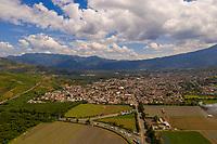 Aerial view of  Ciudad Vieja, Guatemala and surrounding farmland in Ciudad Vieja, Guatemala on Friday, Nov. 2, 2018.
