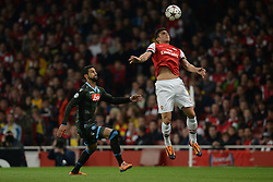LONDON, ENGLAND - Oct 01: Arsenal's forward Olivier Giroud from France controls the ball during the UEFA Champions League match between Arsenal from England and Napoli from Italy played at The Emirates Stadium, on October 01, 2013 in London, England. (Photo by Mitchell Gunn/ESPA)